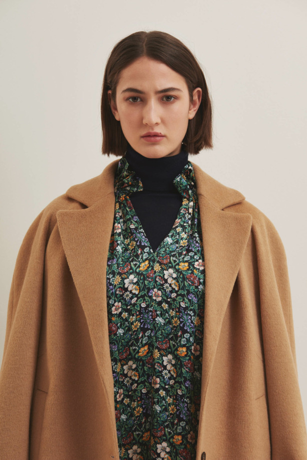 Camel coat with floral dress