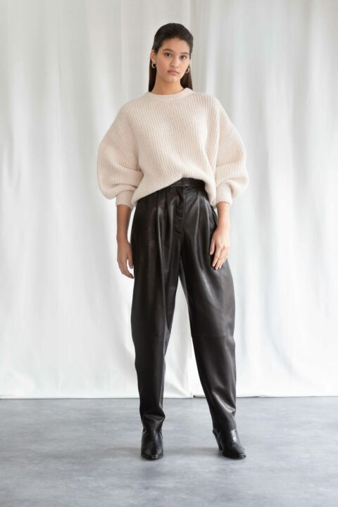 High waist leather trousers