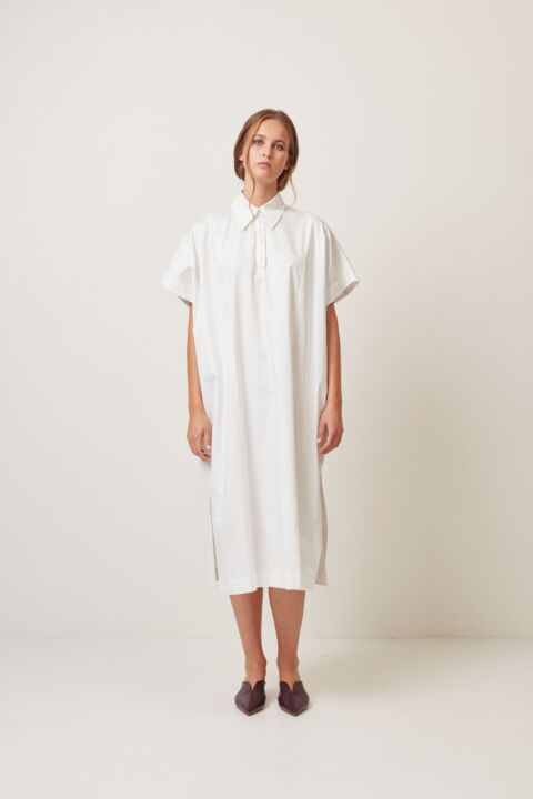 Shirt dress with polo opening