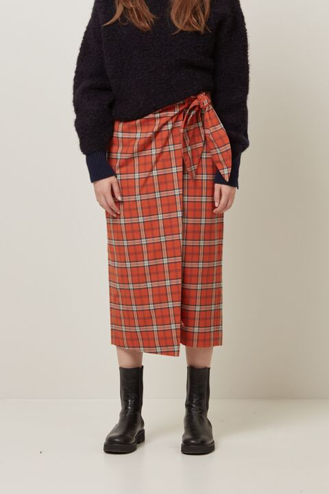 Long wrapped pencil skirt