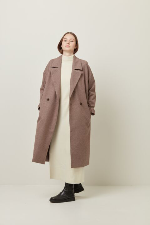 Long double-breasted coat